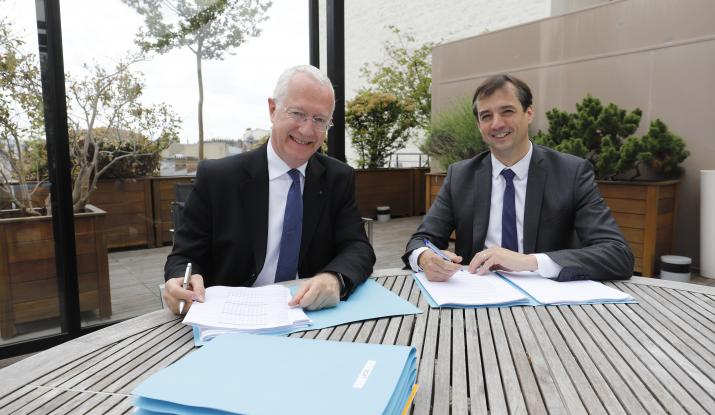 Guy Sidos, Chairman and CEO of the Vicat group, and Sébastien Petithuguenin, CEO of Paprec
